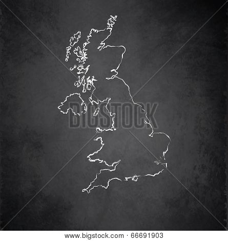 United Kingdom map blackboard chalkboard raster