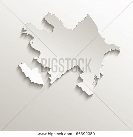 Azerbaijan map card paper 3D natural raster