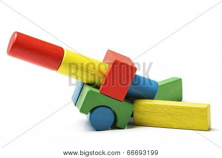 Toy Blocks Cannon, Multicolor Artillery Wooden Gun, Military Defense Game, Isolated White Background