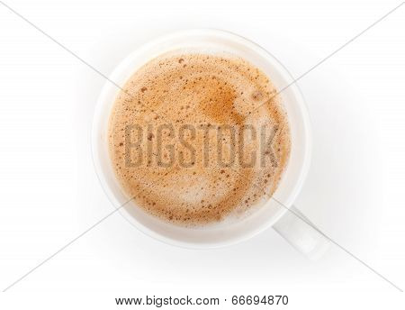 Small Espresso Coffee Cup. Top View On White Table Background