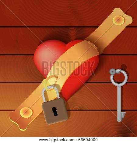 Heart Secured By A Hasp With Wooden Background