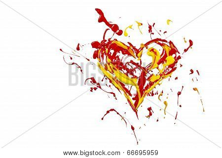 Red Yellow Paint Plash Made Heart