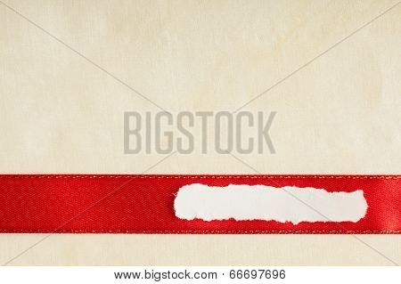 Piece Scrap Paper Blank Copy Space Red Ribbon Cloth Background