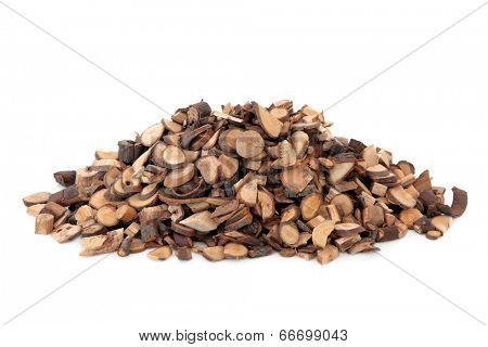 Cinnamon twigs used in chinese herbal medicine over white background.  Gui xhi. Cassia ramulus.