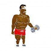 image of weight lifter  - cartoon man lifting weights - JPG