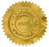 stock photo of goldenseal  - original golden seal stamp on white backgraund - JPG