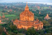View Of Bagan From The Hot Air Balloon At Sunrise, Myanmar.
