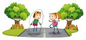 pic of hulahoop  - Illustration of the children playing in the middle of the street on a white background - JPG