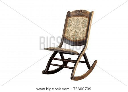 Vintage Rocking Chair With Ornate Upholstered Seat And Backrest