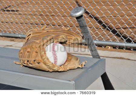 Baseball, Bat, And Glove