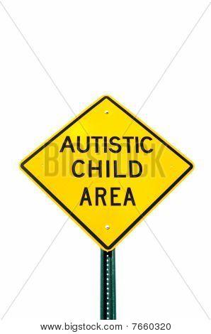 Señal de zona de niño autista