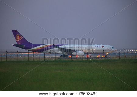 Bangkok Thailand November 21 : Thai Airways Plane Ready To Take Off At Suvarnabhumi International Ai