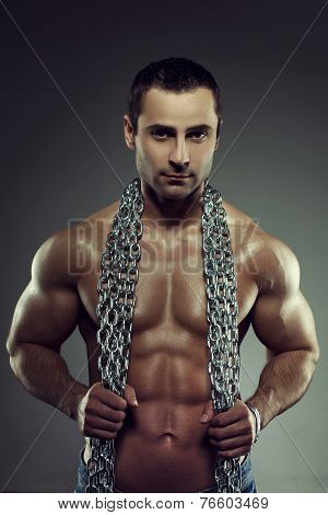Sexy Muscular Naked Man With Chains