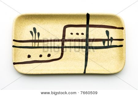 Rectangular Ceramic Dish In Retro Style On White Background