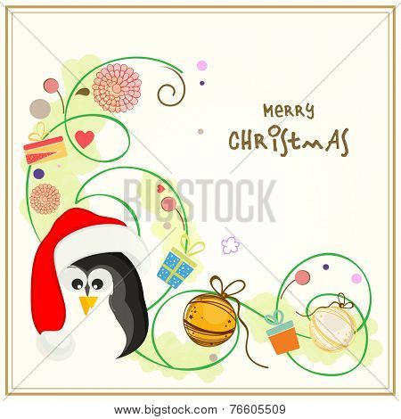 Cute penguin in Santa cap with X-mas ball and beautiful floral design for Merry Christmas celebrations.