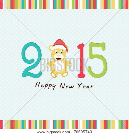 Happy New Year celebration poster or banner with cute teddy bear in Santa cap and colorful text on stylish blue background.