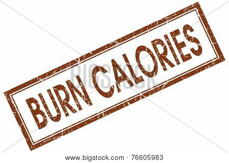 Burn Calories Red Square Stamp Isolated On White Background