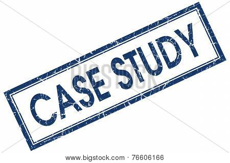 Case Study Blue Square Stamp Isolated On White Background