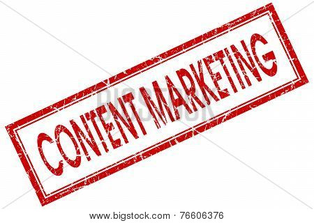 Content Marketing Red Square Stamp Isolated On White Background