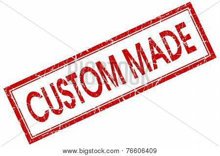 Custom Made Red Square Stamp Isolated On White Background