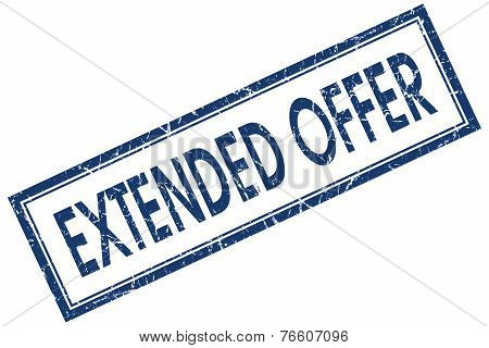 Extended Offer Blue Square Stamp Isolated On White Background