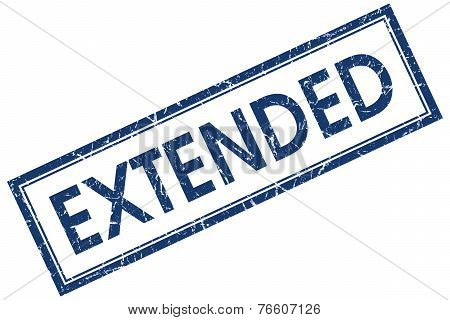Extended Blue Square Stamp Isolated On White Background
