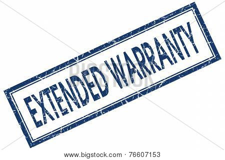 Extended Warranty Blue Square Stamp Isolated On White Background