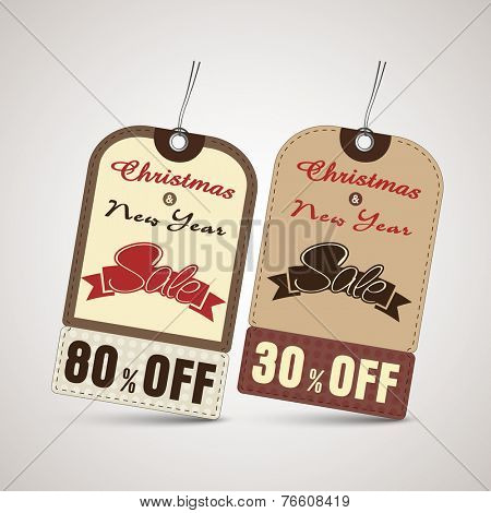 Sale tag or label for Merry Christmas and New Year celebrations.