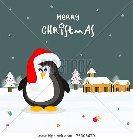 Cute penguin wearing Santa cap on winter background for Merry Christmas celebrations.