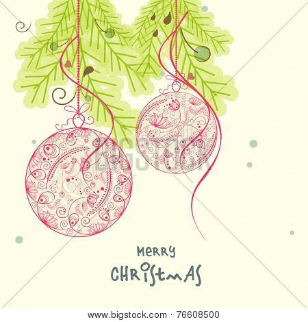Beautiful floral design decorated hanging X-mas ball with fir trees for Merry Christmas celebrations.