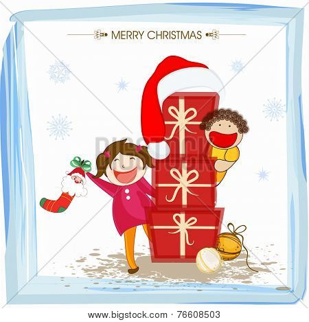 Cartoon of cute kids celebrating Merry Christmas with gifts on snowflakes decorated background.