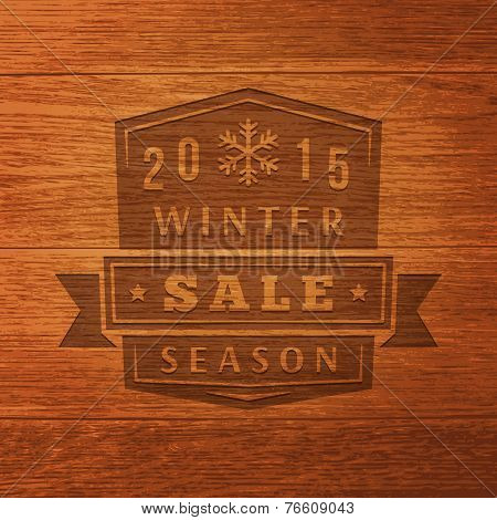 2015 Winter Sale Label On Wood Texture. Vector Background