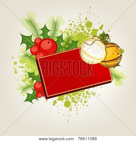 Merry Christmas celebrations with blank postcard and X-mas balls on mistletoe and fir leaves decorated background.