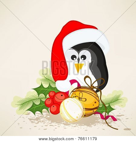 Cute penguin in Santa cap with X-mas ball and mistletoe for Merry Christmas celebrations. can be used as poster, banner or flyer.
