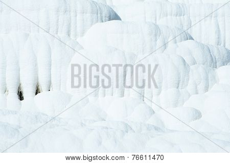 Pamukkale (cotton castle) natural wonder is created by a layers of white travertine looking like cotton, Turkey