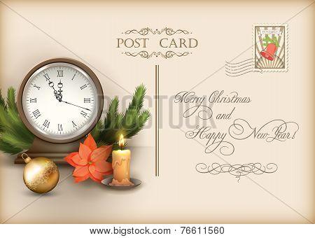 Christmas Vintage Holiday Vector Postcard