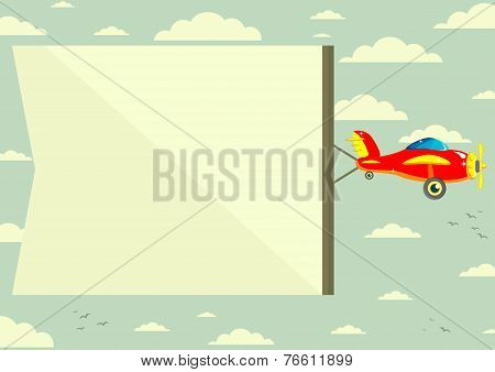Plane with Banner, Vector Illustration
