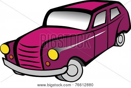 Old pink car cartoon. Vector illustration