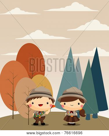 Boy And Girl Scout forest background