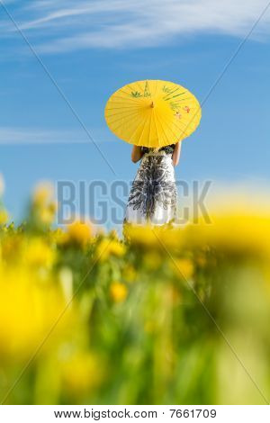 Girl With Parasol Looking Away, Blurred Dandelions