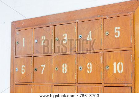 Rows Of Retro Wooden Post Office Boxes