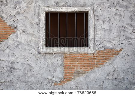 Jail Window On Old Cement Wall