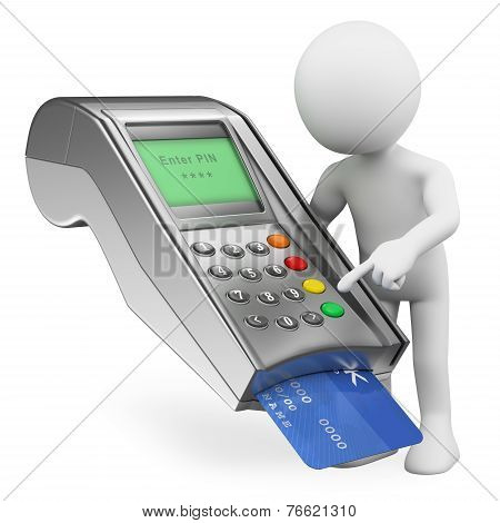 3D White People. Paying With A Credit Card In A Bank Terminal