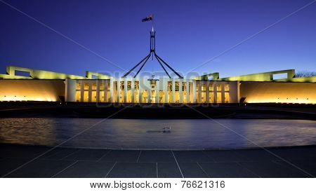 CANBERRA, AUSTRALIA SEPTEMBER 30 2014: Australia's landmark parliament house where both sides of the federal government debate future topics of the Australian nation.