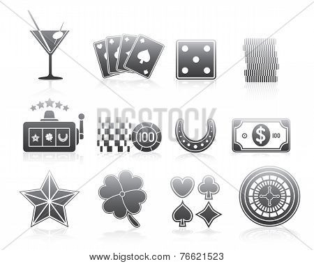 Gambling Icons Silhouette Series Set
