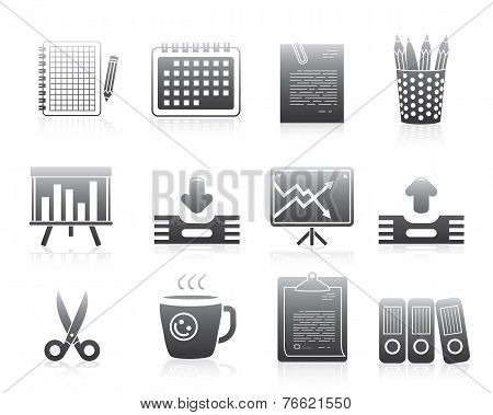 Office Icons Set Silhouette Series Signs