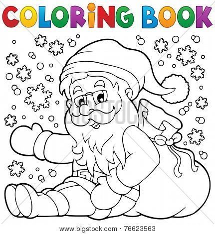 Coloring book Santa Claus in snow 1 - eps10 vector illustration.