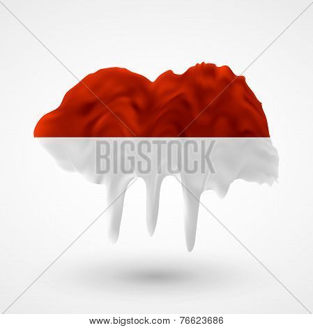 Flag of Indonesia painted colors