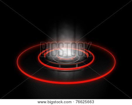 Cybernetic Platform With Red Circles