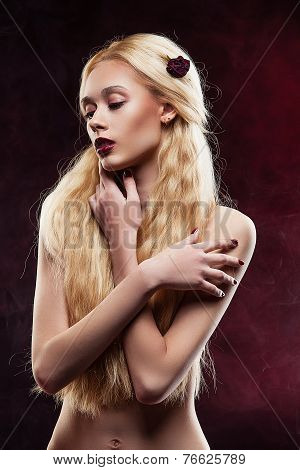 portrait of a girl in studio, blonde with long hair